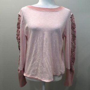 Sundance Pink White Stripes Lace Long Sleeve Med